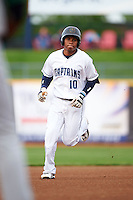 Lake County Captains second baseman Claudio Bautista (10) runs the bases after hitting a home run during a game against the Fort Wayne TinCaps on May 20, 2015 at Classic Park in Eastlake, Ohio.  Lake County defeated Fort Wayne 4-3.  (Mike Janes/Four Seam Images)