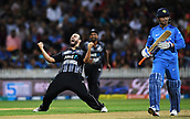 10th February 2019, Seddon Park, Hamilton, New Zealand; 3rd T20 International, New Zealand versus India;    New Zealand bowler Daryl Mitchell celebrates the wicket of MS Dhoni