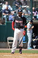 New Britain Rock Cats infielder Kennys Vargas (35) during game against the Trenton Thunder at New Britain Stadium on May 7 2014 in New Britain, CT.  Trenton defeated New Britain 6-4.  (Tomasso DeRosa/Four Seam Images)
