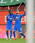 17.06.2020, Fussball 1. Bundesliga 2019/2020, 32. Spieltag, FC Augsburg - TSG 1899 Hoffenheim, in der WWK-Arena Augsburg. Jubel (L-R) Diadie Samassekou (TSG 1899 Hoffenheim) und Torschütze Munas Dabbur (TSG 1899 Hoffenheim) zum Tor zum 0:2<br /> <br /> Foto: Bernd Feil/MIS/Pool/PIX-Sportfotos<br /> <br /> Nur für journalistische Zwecke! Only for editorial use! <br /> <br /> Gemäß den Vorgaben der DFL Deutsche Fußball Liga ist es untersagt, in dem Stadion und/oder vom Spiel angefertigte Fotoaufnahmen in Form von Sequenzbildern und/oder videoähnlichen Fotostrecken zu verwerten bzw. verwerten zu lassen. DFL regulations prohibit any use of photographs as image sequences and/or quasi-video.    <br /> <br /> National and international NewsAgencies OUT.