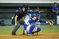 Burlington Royals catcher William Hancock (7) frames a pitch as home plate umpire Lane Culipher looks on during the game against the Pulaski Yankees at Burlington Athletic Stadium on August 25, 2019 in Burlington, North Carolina. The Yankees defeated the Royals 3-0. (Brian Westerholt/Four Seam Images)
