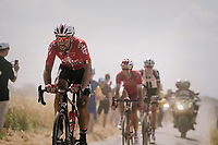Thomas De Gendt (BEL/Lotto Soudal) emerging from the dust on pav&eacute; sector #6<br /> <br /> Stage 9: Arras Citadelle &gt; Roubaix (154km)<br /> <br /> 105th Tour de France 2018<br /> &copy;kramon