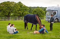 FRA-Thomas Carlile (QUIRO HOY) relaxing on arrival: 2014 GBR-Equitrek Bramham International Horse Trial (Tuesday 3 June) CREDIT: Libby Law COPYRIGHT: LIBBY LAW PHOTOGRAPHY - NZL