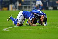 FUSSBALL   1. BUNDESLIGA    SAISON 2012/2013    11. Spieltag   FC Schalke - 04 Werder Bremen                              10.11.2012 Jermaine Jones (li) und Roman Neustaedter (re, beide FC Schalke 04) jubeln nach dem Tor zum 2:1