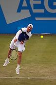 June 12th 2017,  Nottingham, England; WTA Aegon Nottingham Open Tennis Tournament day 3;  Ukranian no8 seed Illya Marchenko serves to Liam Broady of the UK