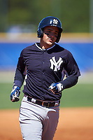 New York Yankees Luis Torrens (31) during a minor league Spring Training game against the Toronto Blue Jays on March 22, 2016 at Englebert Complex in Dunedin, Florida.  (Mike Janes/Four Seam Images)