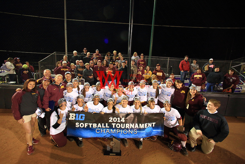 The University of Minnesota 2014 BigTen Softball Champions. Evanston, IL. May 10, 2014