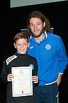 St Johnstone FC Youth Academy Presentation Night at Perth Concert Hall..21.04.14<br /> Stevie May presents to Lewis Finnie<br /> Picture by Graeme Hart.<br /> Copyright Perthshire Picture Agency<br /> Tel: 01738 623350  Mobile: 07990 594431
