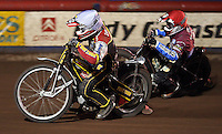 Heat 7: Grzegorz Zengota (white) and Adam Shields (red)  - Lakeside Hammers vs Swindon Robins, Elite League Speedway at the Arena Essex Raceway, Purfleet - 03/09/10 - MANDATORY CREDIT: Rob Newell/TGSPHOTO - Self billing applies where appropriate - 0845 094 6026 - contact@tgsphoto.co.uk - NO UNPAID USE.