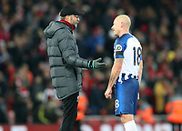 30th November 2019; Anfield, Liverpool, Merseyside, England; English Premier League Football, Liverpool versus Brighton and Hove Albion; Liverpool manager Jurgen Klopp speaks with Aaron Mooy of Brighton and Hove Albion after the final whistle  - Strictly Editorial Use Only. No use with unauthorized audio, video, data, fixture lists, club/league logos or 'live' services. Online in-match use limited to 120 images, no video emulation. No use in betting, games or single club/league/player publications