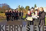 GIVING:  Students from Mean Scoil Nua an Leith Triuigh, Castlegregory who raised EUR650 for the Billy Riordan Memorial Trust. PIctured with their class were Patrick Hussey, Shane Molloy and Jason Griffin with teacher Nora Flynn and trust founder Mags Riordan.
