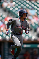 Lehigh Valley IronPigs Jose Antequera (18) runs to first base during an International League game against the Buffalo Bisons on June 9, 2019 at Sahlen Field in Buffalo, New York.  Lehigh Valley defeated Buffalo 7-6 in 11 innings.  (Mike Janes/Four Seam Images)