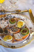 Appetizers made with truffles: small pieces of bread with truffles butter, slices of fresh black truffles, egg with truffles mayonnaise, zucchini squash with truffles... Truffiere de la Bergerie (Truffière) truffles farm Ste Foy de Longas Dordogne France