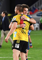 14th June 2020, Aukland, New Zealand;  Dane Coles and Beauden Barrett embrace at the Investec Super Rugby Aotearoa match, between the Blues and Hurricanes held at Eden Park, Auckland, New Zealand.