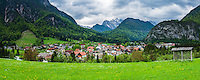 Slovenia, Mojstrana, seen below Mount Triglav in Triglav National Park, Julian Alps, Upper Carniola, Slovenia