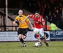 Nat Knight-Percival of Wrexham out-paces Paul Carden of Cambridge United during the Blue Square Bet Premier match between Cambridge United and Wrexham at the Abbey Stadium, Cambridge on 22nd January, 2011 .© Kevin Coleman 2011