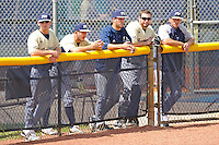18 March 2012:  FIU's bullpen keeps an eye on the game as the Florida Atlantic University Owls defeated the FIU Golden Panthers, 9-3, at University Park in Miami, Florida.