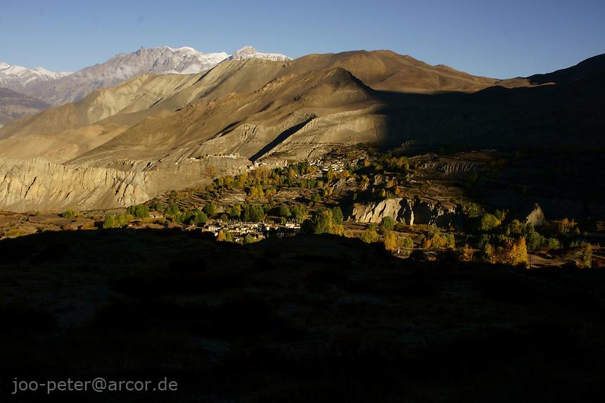 sunrise view on Jhong and Purang village and Jhong Khola valley  from Muktinath , Himalaya, Nepal, October 2011Himalaya, Nepal, October 2011
