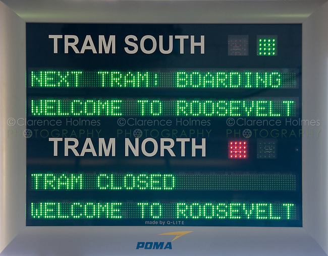 LED tram status sign for the newly renovated Roosevelt Island Tram