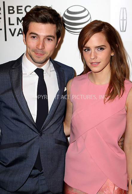 WWW.ACEPIXS.COM<br /> <br /> April 20 2014, New York <br /> <br /> Actors Roberto Aguire (L) and Emma Watson arriving at the premiere of 'Boulevard' during the 2014 Tribeca Film Festival at BMCC Tribeca PAC on April 20, 2014 in New York City.<br /> <br /> By Line: Nancy Rivera/ACE Pictures<br /> <br /> <br /> ACE Pictures, Inc.<br /> tel: 646 769 0430<br /> Email: info@acepixs.com<br /> www.acepixs.com