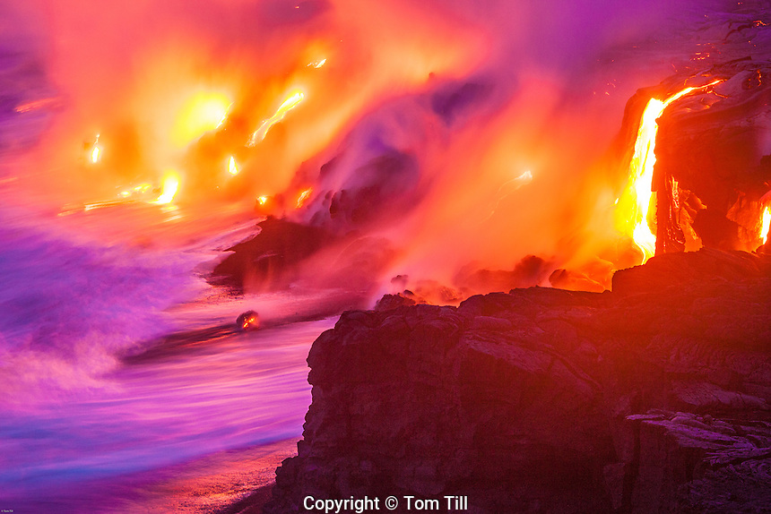 Lava entering Pacific Ocean<br /> Hawaii Volcanoes National Park, Hawaii<br /> Big Island of Hawaii <br /> Continual flow from Kilaeau Volcano<br /> World's most active