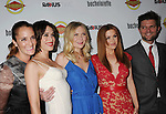 HOLLYWOOD, CA - AUGUST 23: Lizzy Caplan, Kirsten Dunst, Isla Fisher and Adam Scott arrive at the Los Angeles premiere of 'Bachelorette' at the Arclight Hollywood on August 23, 2012 in Hollywood, California.