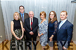 Declan Lovett, Noreen Lovett, Nora Lovett and Karen Daly  John Nolan, Xavier Lovett and Tom Daley at the Kilmoyley GAA Social in Ballyroe Heights Hotel on Saturday night. .