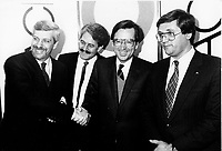 Montreal (QC) CANADA file photo - Nov 22 1985 -<br /> Pierre-Marc Johnson (PQ), Pierre Pascau, host, CKAC, Robert Bourassa (PLQ), Denis Monier (PIQ) pose for photographers before a radio debate at CKAC during the 1985 Quebec Provincial election