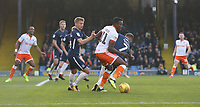 Blackpool's Joe Dodoo holds off Southend United's Jason Demetriou and Michael Kightly<br /> <br /> Photographer Rob Newell/CameraSport<br /> <br /> The EFL Sky Bet League One - Southend United v Blackpool - Saturday 17th November 2018 - Roots Hall - Southend<br /> <br /> World Copyright © 2018 CameraSport. All rights reserved. 43 Linden Ave. Countesthorpe. Leicester. England. LE8 5PG - Tel: +44 (0) 116 277 4147 - admin@camerasport.com - www.camerasport.com