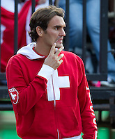 Royal Sydney Golf Club, Sydney, Australia v Switzerland Davis Cup 18/09/2011..Roger Federer watching Stanlinas Wawrinka (SUI)  against Lleyton Hewitt (AUS)  in the Fifth Rubber..Photo:  Frey Fotosports International / AMN Images