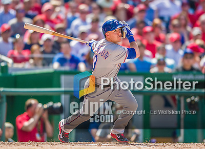 1 June 2014: Texas Rangers outfielder Dan Robertson at bat against the Washington Nationals at Nationals Park in Washington, DC. The Rangers shut out the Nationals 2-0 to salvage the third the third game of their 3-game inter-league series. Mandatory Credit: Ed Wolfstein Photo *** RAW (NEF) Image File Available ***