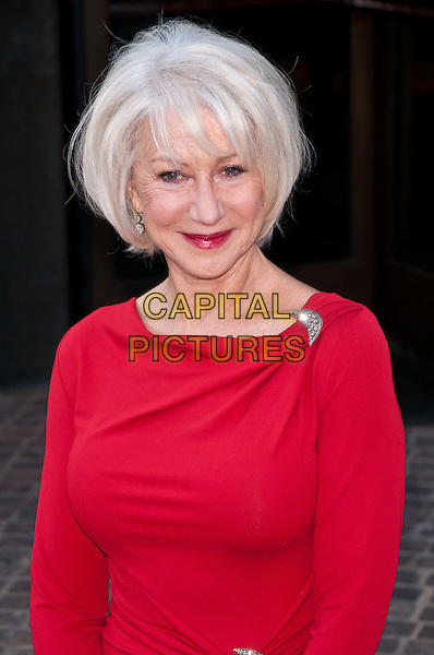 "Helen Mirren.""The Debt"" Special Screening, New York City, NY, USA..August 22nd, 2011.half length red dress silver brooch lipstick.CAP/ADM/CS.©Christopher Smith/AdMedia/Capital Pictures."