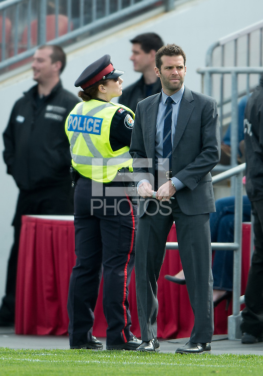 05 May 2012: D.C. United coach Ben Olsen watches during an MLS game between DC United and Toronto FC at BMO Field in Toronto..D.C. United won 2-0.