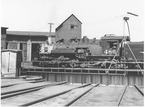 D&amp;RGW #486 riding the Alamosa turntable.<br /> D&amp;RGW  Alamosa, CO