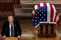 Former Sen. Alan Simpson, R-Wyo, speaks during the State Funeral for former President George H.W. Bush at the National Cathedral, Wednesday, Dec. 5, 2018, in Washington.<br /> CAP/MPI/RS<br /> &copy;RS/MPI/Capital Pictures