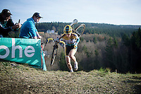 Nikki Harris (GBR/Telenet-Fidea) on top of &quot;Le Mur&quot; de Francorchamps (50% gradient!)<br /> <br /> Superprestige Francorchamps 2014