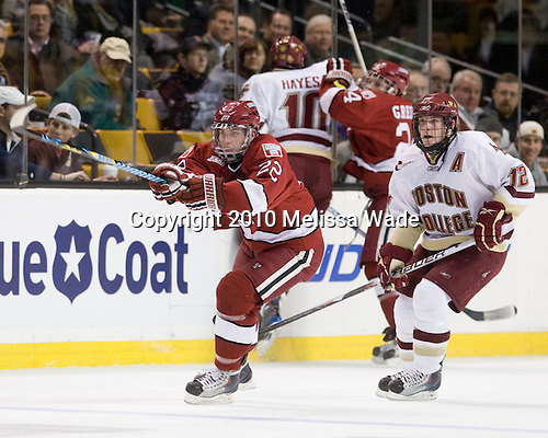 David Valek (Harvard - 22), Ben Smith (BC - 12) - The Boston College Eagles defeated the Harvard University Crimson 6-0 on Monday, February 1, 2010, in the first round of the 2010 Beanpot at the TD Garden in Boston, Massachusetts.