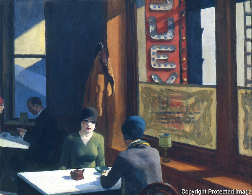 American Painters:  Edward Hopper--Chop Suey, 1929.  Oil on canvas.  Barney A. Ebsworth Collection.  Reference only.