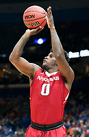 NWA Democrat-Gazette/CHARLIE KAIJO Arkansas Razorbacks guard Jaylen Barford (0) shoots during the Southeastern Conference Men's Basketball Tournament semifinals, Saturday, March 10, 2018 at Scottrade Center in St. Louis, Mo. The Tennessee Volunteers knocked off the Arkansas Razorbacks 84-66