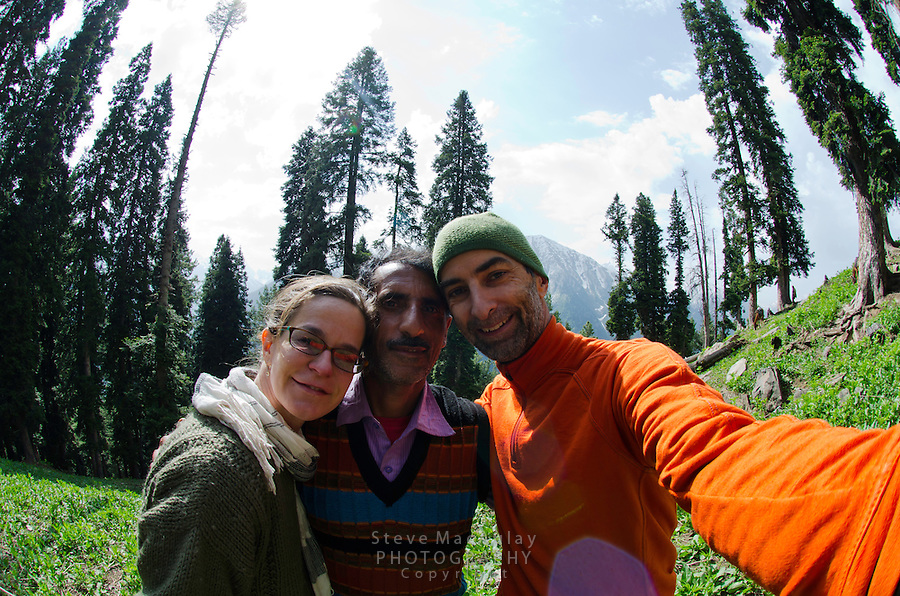 Self portrait of trekkers and guide, Western Himalayan Mountains, Kashmir, India..