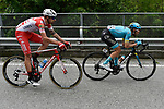 The breakaway featuring Dario Cataldo (ITA) Astana Pro Team and Mattia Cattaneo (ITA) Androni Giocattoli-Sidermec in action during Stage 15 of the 2019 Giro d'Italia, running 232km from Ivrea to Como, Italy. 26th May 2019<br /> Picture: Fabio Ferrari/LaPresse | Cyclefile<br /> <br /> All photos usage must carry mandatory copyright credit (© Cyclefile | Fabio Ferrari/LaPresse)