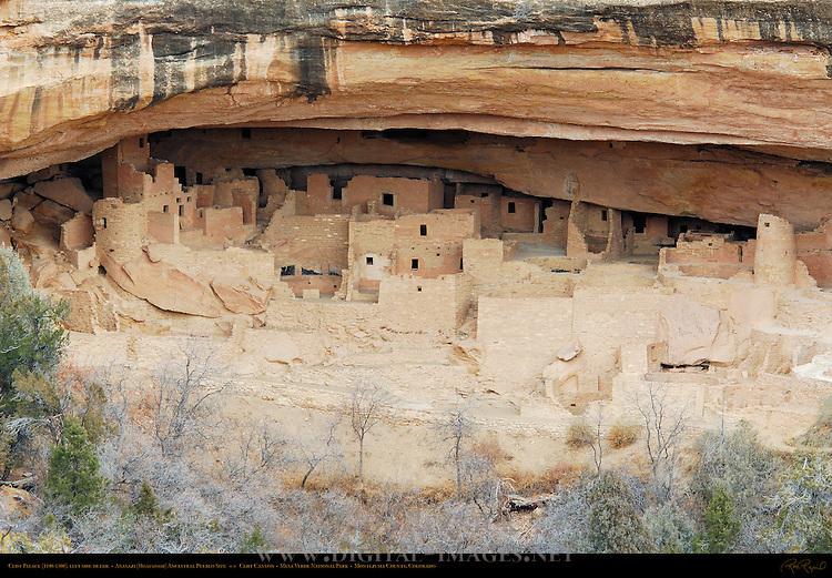 Cliff Palace, left side detail, Anasazi Hisatsinom Ancestral Pueblo Site, Cliff Canyon, Mesa Verde National Park, Colorado