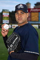Scranton Wilkes-Barre Yankees pitcher Manny Delcarmen #43 poses for a photo during media day at Frontier Field on April 3, 2012 in Rochester, New York.  (Mike Janes/Four Seam Images)