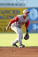 Lowell Spinners Shortstop Joantoni Garcia during a game vs. the Batavia Muckdogs at Dwyer Stadium in Batavia, New York July 16, 2010.   Batavia defeated Lowell 5-4 with a walk off RBI single.  Photo By Mike Janes/Four Seam Images