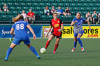 Rochester, NY - Friday May 27, 2016: Western New York Flash defender Abigail Dahlkemper (13) looks to split Boston Breakers forward Kathryn Schoepfer (88) and midfielder Kristie Mewis (19). The Western New York Flash defeated the Boston Breakers 4-0 during a regular season National Women's Soccer League (NWSL) match at Rochester Rhinos Stadium.