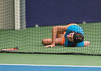Hilversum, The Netherlands, March 12, 2016,  Tulip Tennis Center, NOVK, Franny van Opstal falling<br /> Photo: Tennisimages/Henk Koster