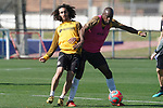 Getafe's Marc Cucurella (l) and Allan Nyom during training session. May 19,2020.(ALTERPHOTOS/Acero)