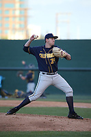 Ian Lutz (39) of the California Bears pitches against the UCLA Bruins at Jackie Robinson Stadium on March 25, 2017 in Los Angeles, California. UCLA defeated California, 9-4. (Larry Goren/Four Seam Images)
