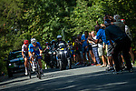 The breakaway featuring Mads Pedersen (DEN) Trek-Segafredo, Julian Alaphilippe (FRA) Deceuninck-Quick Step and Miká Heming (GER) Dauner Akkon during Stage 3 of the Deutschland Tour 2019, running 189km from Gottingen to Eisenach, Germany. 31st August 2019.<br /> Picture: ASO/Marcel Hilger | Cyclefile<br /> All photos usage must carry mandatory copyright credit (© Cyclefile | ASO/Marcel Hilger)