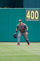 Lehigh Valley IronPigs center fielder Collin Cowgill (7) during a game against the Syracuse Chiefs on May 20, 2018 at NBT Bank Stadium in Syracuse, New York.  Lehigh Valley defeated Syracuse 5-2.  (Mike Janes/Four Seam Images)